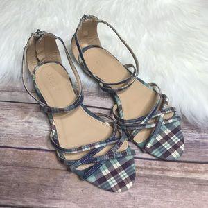 J Crew Cary Mini-Wedge Sandals Plaid Glitter
